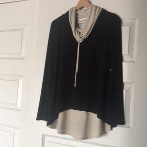 Long flowy black and beige sweater